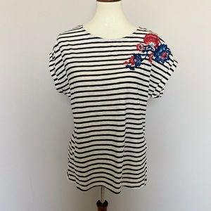W5 Striped Floral Embroidered Tee Medium